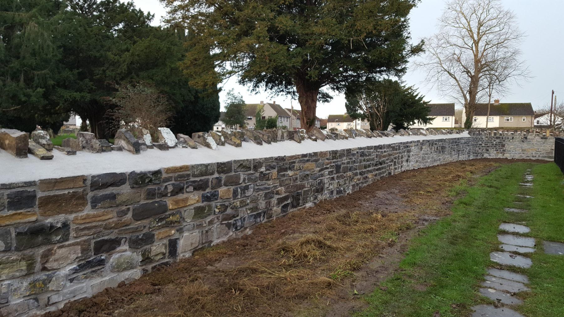 Church Stone Wall Rebuilt | Albino Builders Ltd